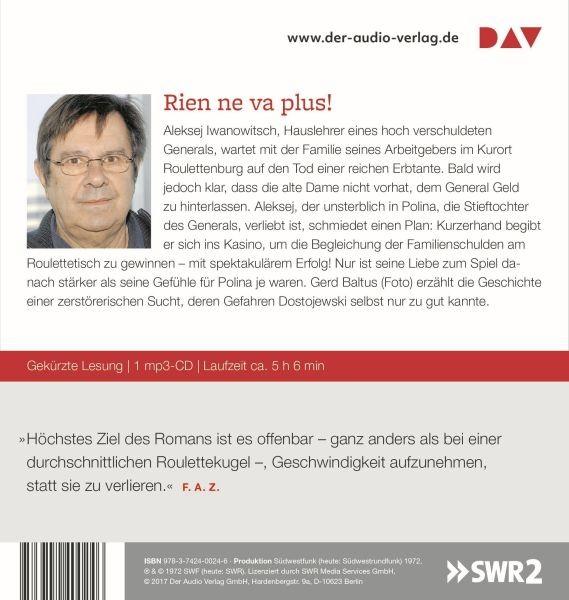 Dostojewski: Der Spieler (1 mp3-CD)